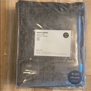 "NEW ""West Elm"" Blackout Curtains in Charcoal Grey"